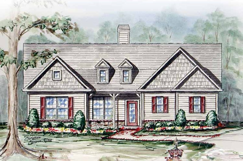 Country Exterior - Front Elevation Plan #54-236 - Houseplans.com