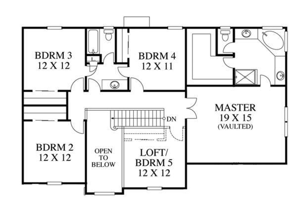 Traditional Floor Plan - Upper Floor Plan Plan #1053-55