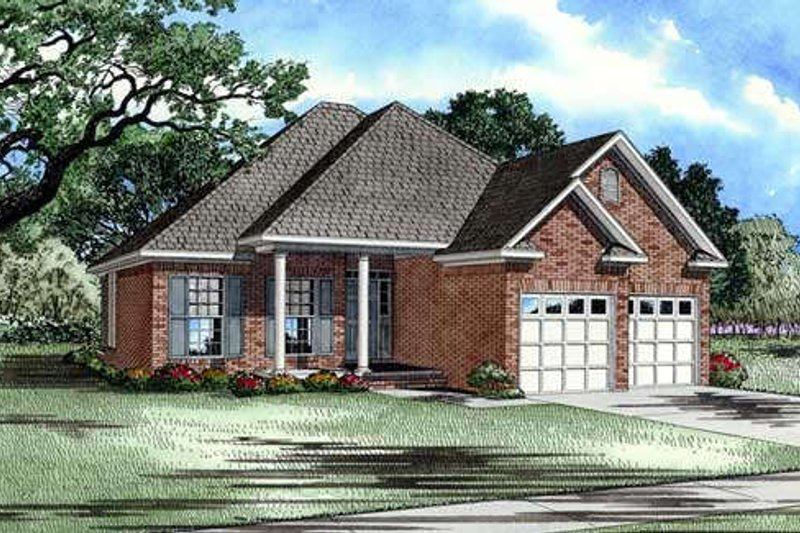 Traditional Style House Plan - 3 Beds 2 Baths 1504 Sq/Ft Plan #17-191 Exterior - Front Elevation