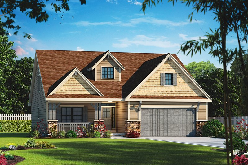 Ranch Style House Plan - 2 Beds 2.5 Baths 1676 Sq/Ft Plan #20-2314 Exterior - Front Elevation