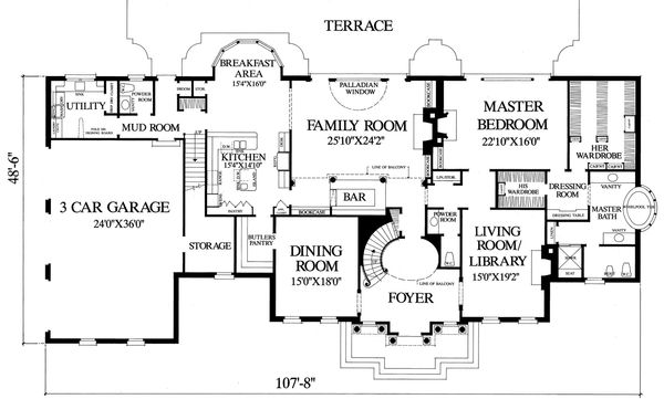 Main level floor plan - 5800 square foot Southern home