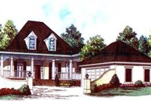 Southern Exterior - Front Elevation Plan #37-167