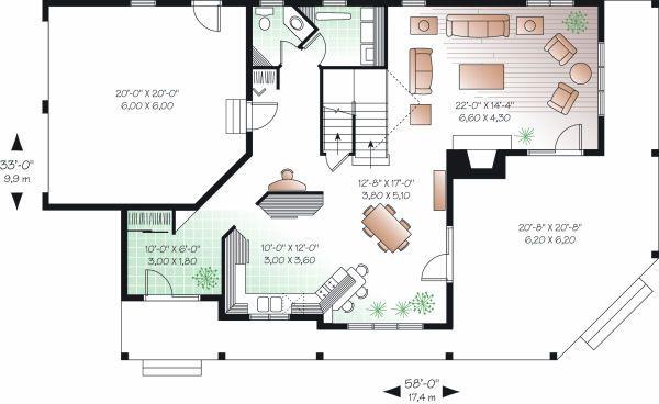 Country Floor Plan - Main Floor Plan #23-744