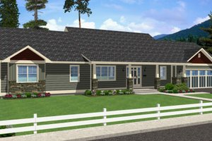 Ranch Exterior - Front Elevation Plan #126-163