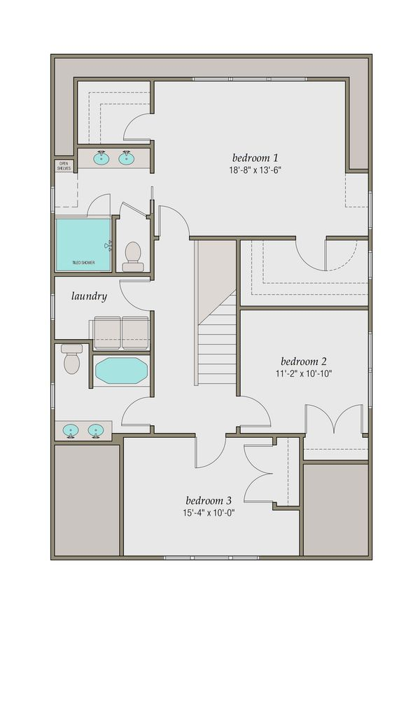 Craftsman Floor Plan - Upper Floor Plan Plan #461-48