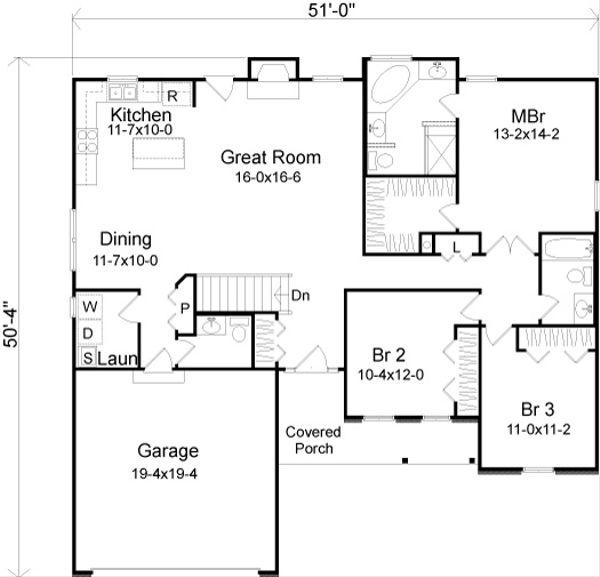 European Floor Plan - Main Floor Plan Plan #22-524