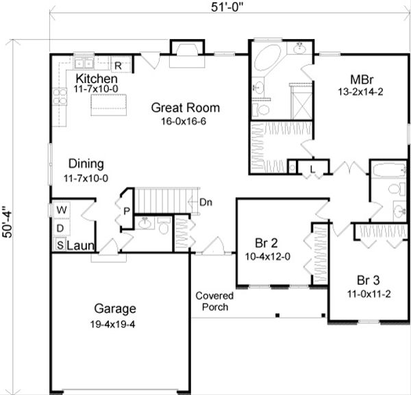 European Floor Plan - Main Floor Plan #22-524