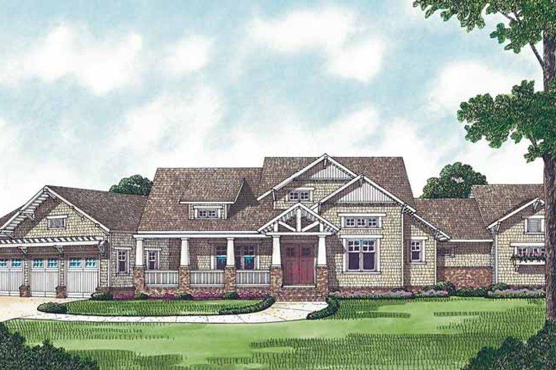 Craftsman Exterior - Front Elevation Plan #453-458