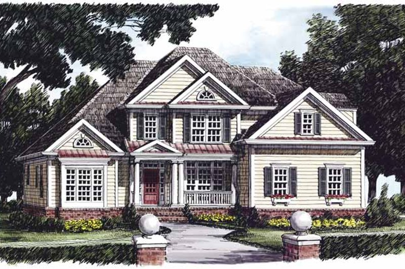 Country Style House Plan - 4 Beds 3.5 Baths 2730 Sq/Ft Plan #927-472 Exterior - Front Elevation