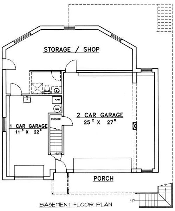 Traditional Floor Plan - Lower Floor Plan Plan #117-163