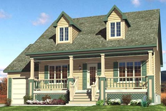Cottage Exterior - Front Elevation Plan #138-297
