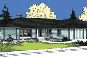 Dream House Plan - Prairie Exterior - Front Elevation Plan #60-1012