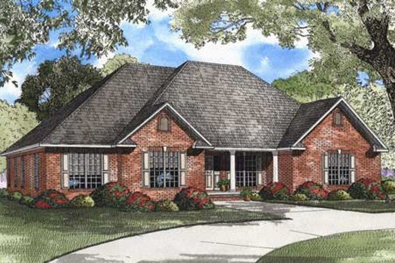 Southern Style House Plan - 4 Beds 3 Baths 2405 Sq/Ft Plan #17-2295 Exterior - Front Elevation
