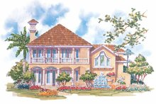 House Design - Mediterranean Exterior - Rear Elevation Plan #930-70