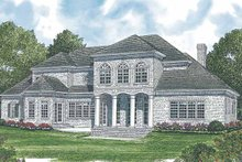 Colonial Exterior - Rear Elevation Plan #453-591