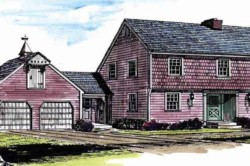 Colonial Style House Plan - 4 Beds 2.5 Baths 1992 Sq/Ft Plan #315-115 Exterior - Front Elevation