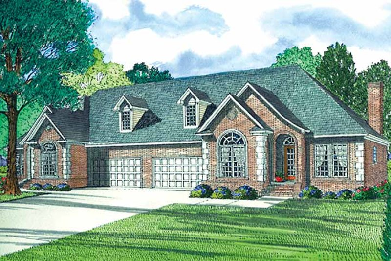Country Exterior - Front Elevation Plan #17-3194