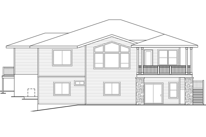 Prairie Exterior - Rear Elevation Plan #124-924 - Houseplans.com