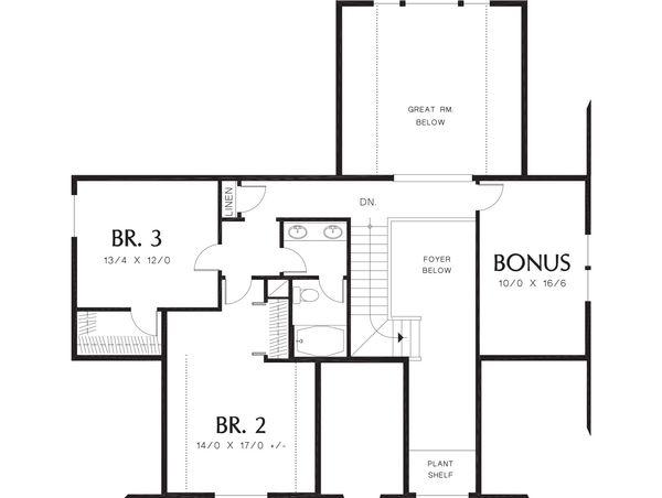 Craftsman Floor Plan - Upper Floor Plan Plan #48-180