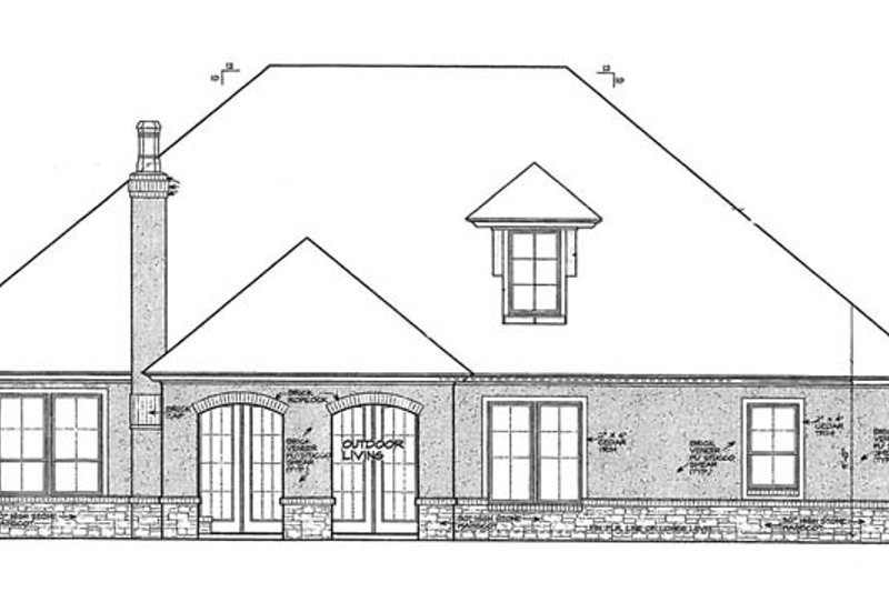European Exterior - Rear Elevation Plan #310-1266 - Houseplans.com