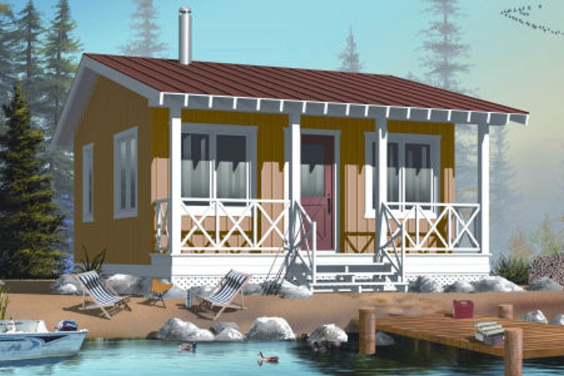 Cottage Style House Plan - 1 Beds 1 Baths 400 Sq/Ft Plan #23-2289 Exterior - Front Elevation