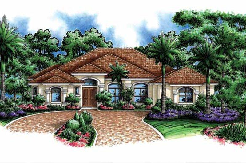 Dream House Plan - Mediterranean Exterior - Front Elevation Plan #1017-122