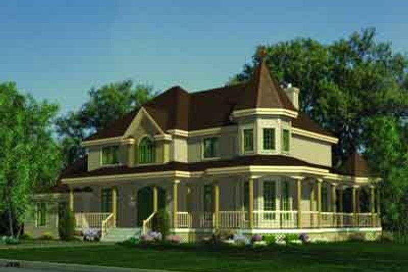 Victorian Style House Plan - 3 Beds 2.5 Baths 2926 Sq/Ft Plan #138-165 Exterior - Front Elevation