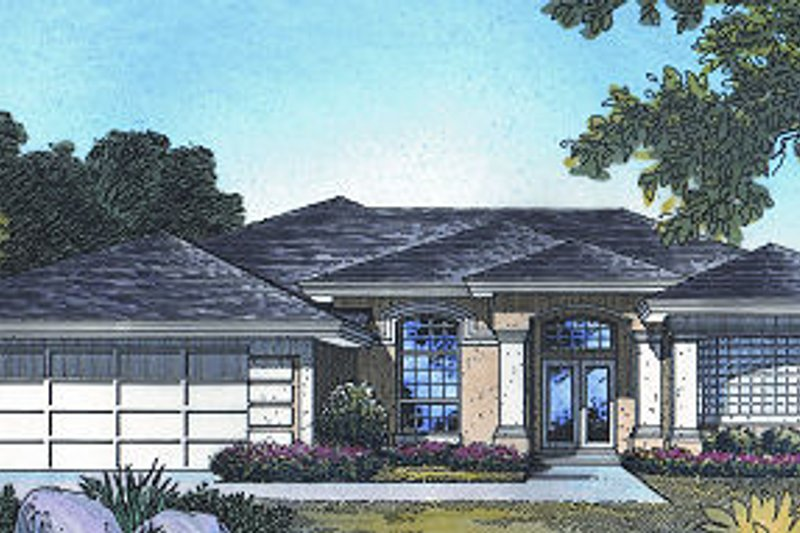 Mediterranean Style House Plan - 4 Beds 3 Baths 2381 Sq/Ft Plan #417-249 Exterior - Front Elevation