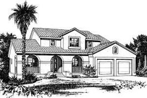 Mediterranean Exterior - Front Elevation Plan #20-715