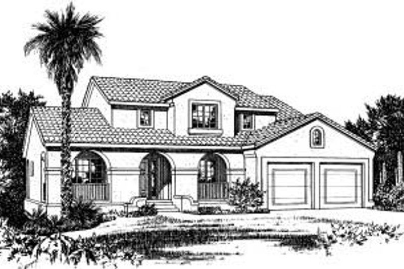 Mediterranean Style House Plan - 4 Beds 2.5 Baths 2107 Sq/Ft Plan #20-715 Exterior - Front Elevation