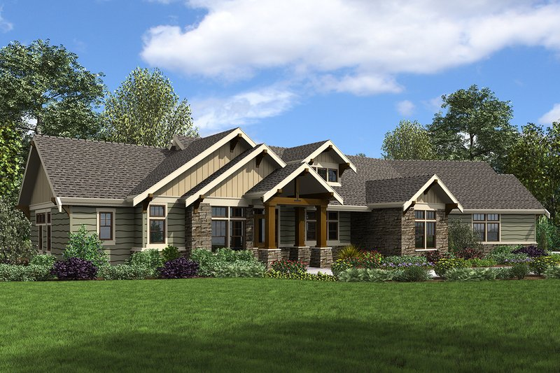 Craftsman Exterior - Front Elevation Plan #48-960
