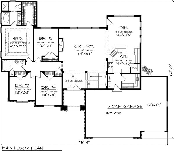 Ranch Floor Plan - Main Floor Plan Plan #70-1119