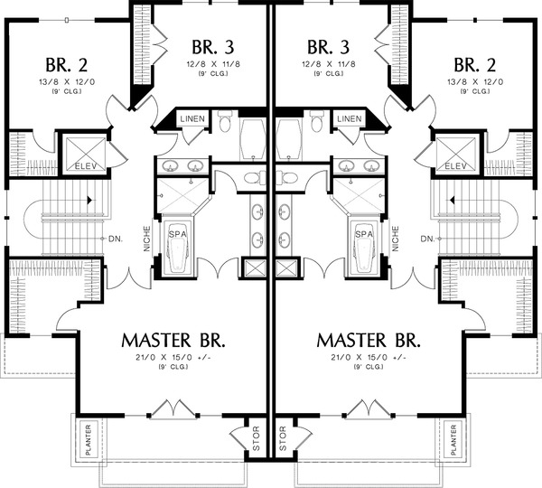 Upper level floor plan - 2800 square foot Modern Duplex