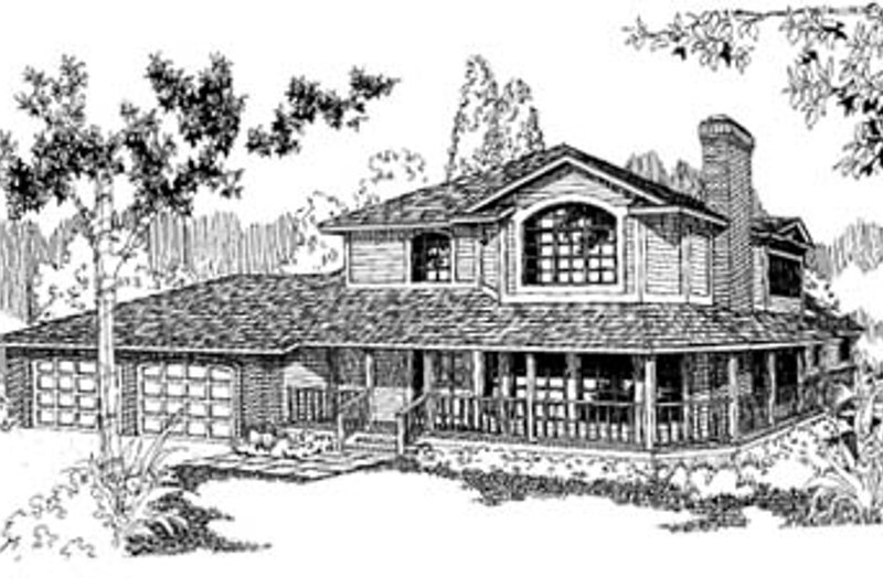 Traditional Style House Plan - 3 Beds 2.5 Baths 2337 Sq/Ft Plan #60-147 Exterior - Front Elevation