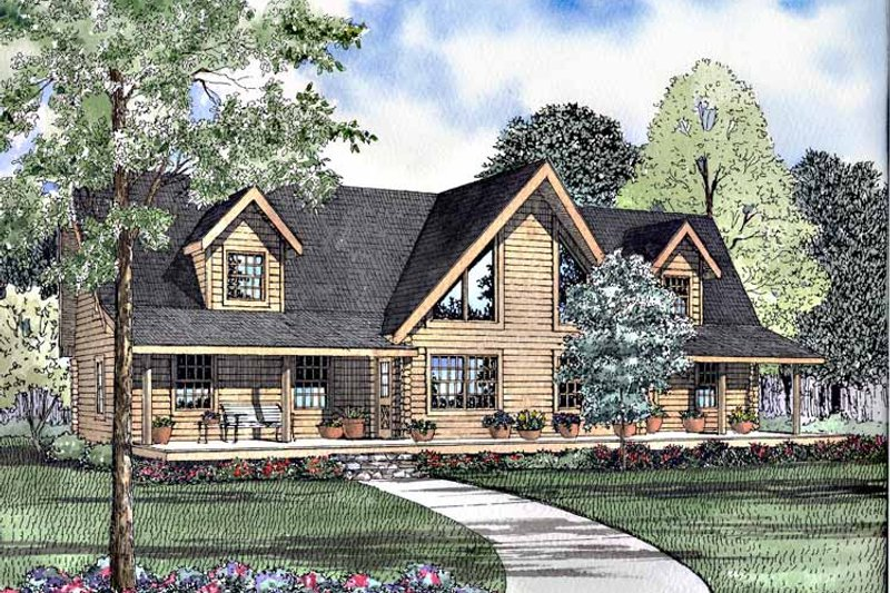 Log Exterior - Front Elevation Plan #17-3093