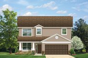 Prairie Style House Plan - 4 Beds 2.5 Baths 1810 Sq/Ft Plan #1058-22 Exterior - Front Elevation