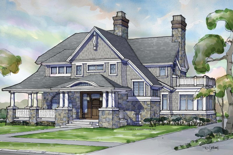 Craftsman Style House Plan - 4 Beds 3.5 Baths 3888 Sq/Ft Plan #928-239 Exterior - Front Elevation