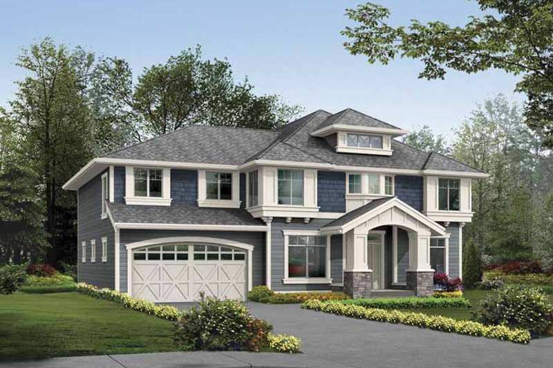 Prairie Exterior - Front Elevation Plan #132-380 - Houseplans.com