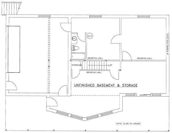 Bungalow Floor Plan - Lower Floor Plan Plan #117-511