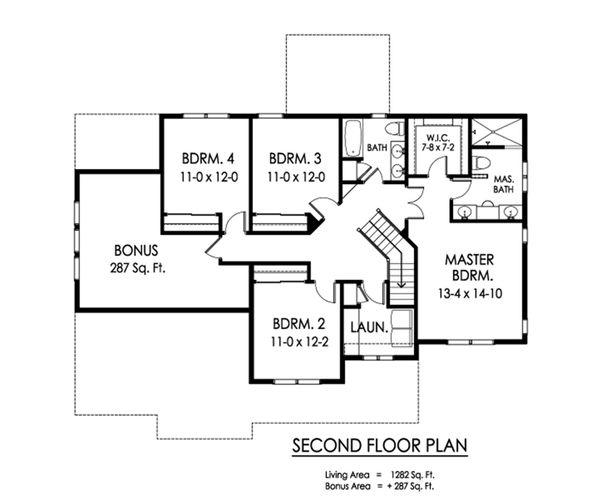 Traditional Floor Plan - Upper Floor Plan Plan #1010-233