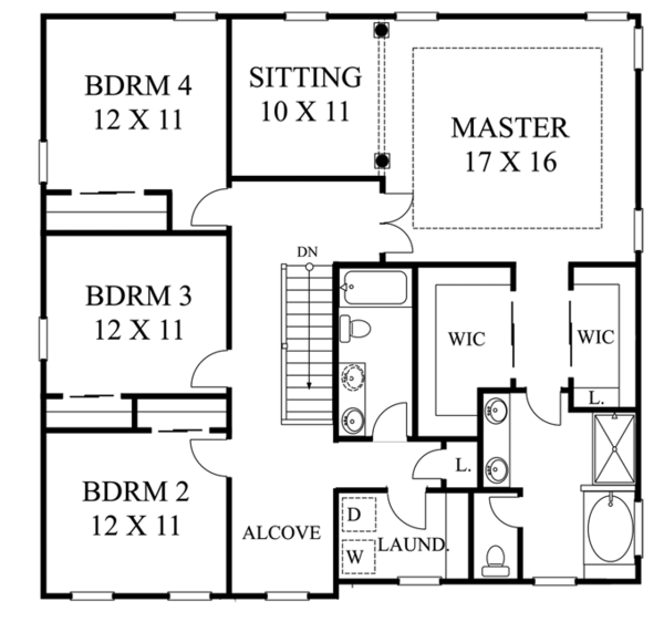 Colonial Floor Plan - Upper Floor Plan Plan #1053-54