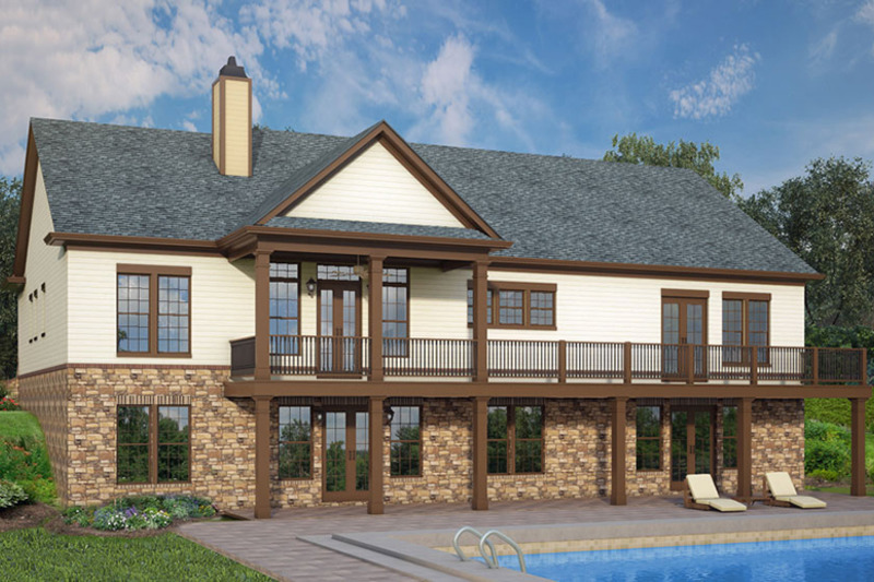European Exterior - Rear Elevation Plan #119-427 - Houseplans.com