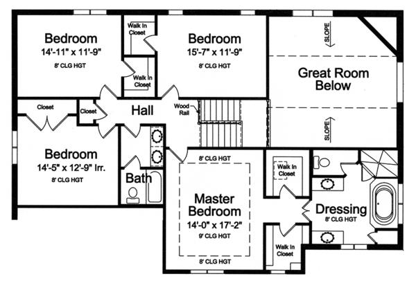Traditional Floor Plan - Upper Floor Plan Plan #46-848