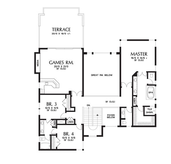 Contemporary Floor Plan - Upper Floor Plan Plan #48-651