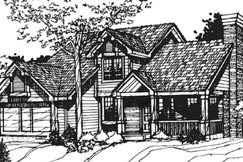 Traditional Style House Plan - 3 Beds 2.5 Baths 1957 Sq/Ft Plan #320-337 Exterior - Front Elevation