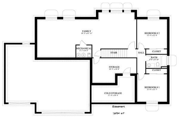 Dream House Plan - Traditional Floor Plan - Lower Floor Plan #1060-25