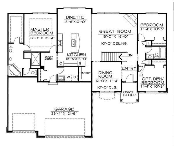 Traditional Floor Plan - Main Floor Plan Plan #20-2057