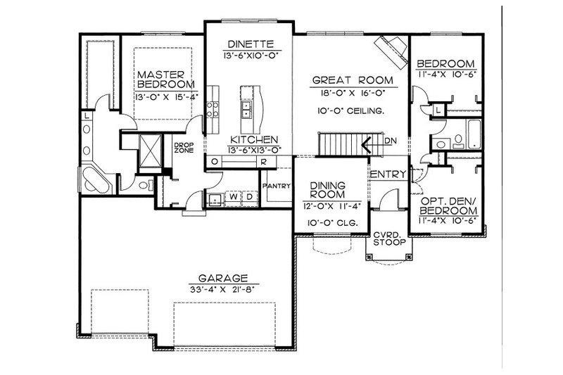 Traditional Floor Plan - Main Floor Plan Plan #20-2057