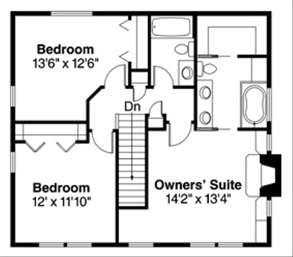 Traditional Floor Plan - Upper Floor Plan Plan #124-852
