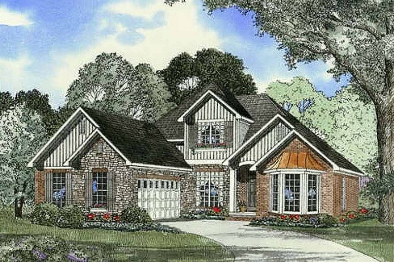 European Style House Plan - 4 Beds 2.5 Baths 2041 Sq/Ft Plan #17-2046 Exterior - Front Elevation
